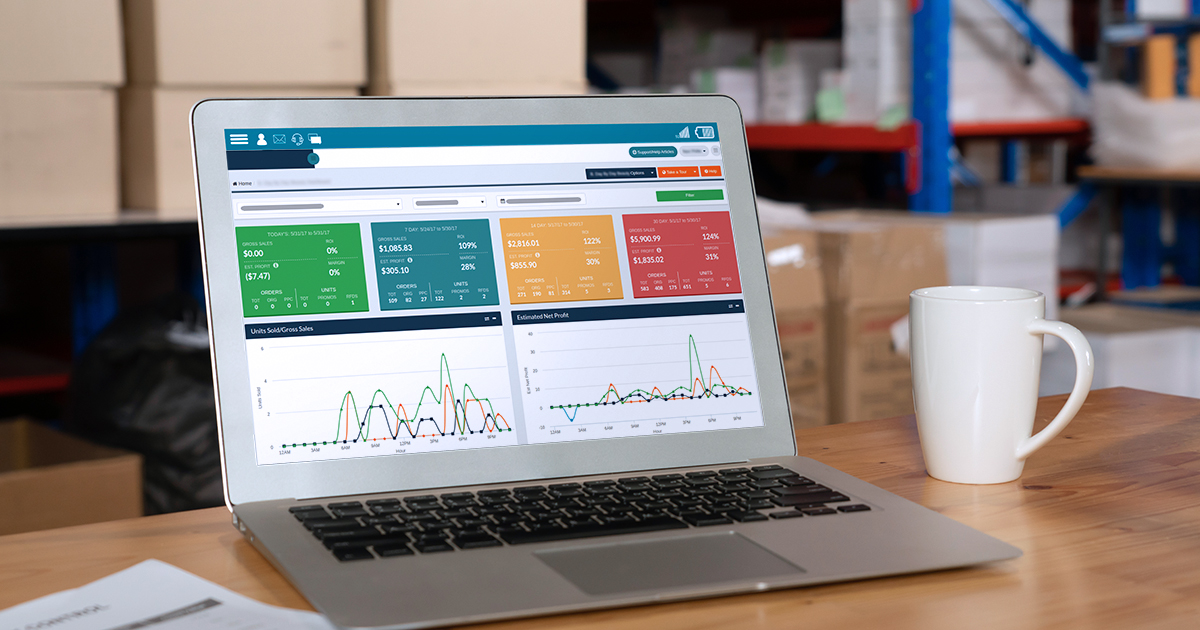 laptop with dashboard illustrates seller card prediction
